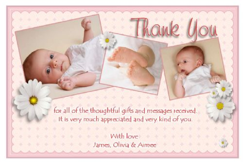 10 Personalised Thank you PHOTO Cards N128
